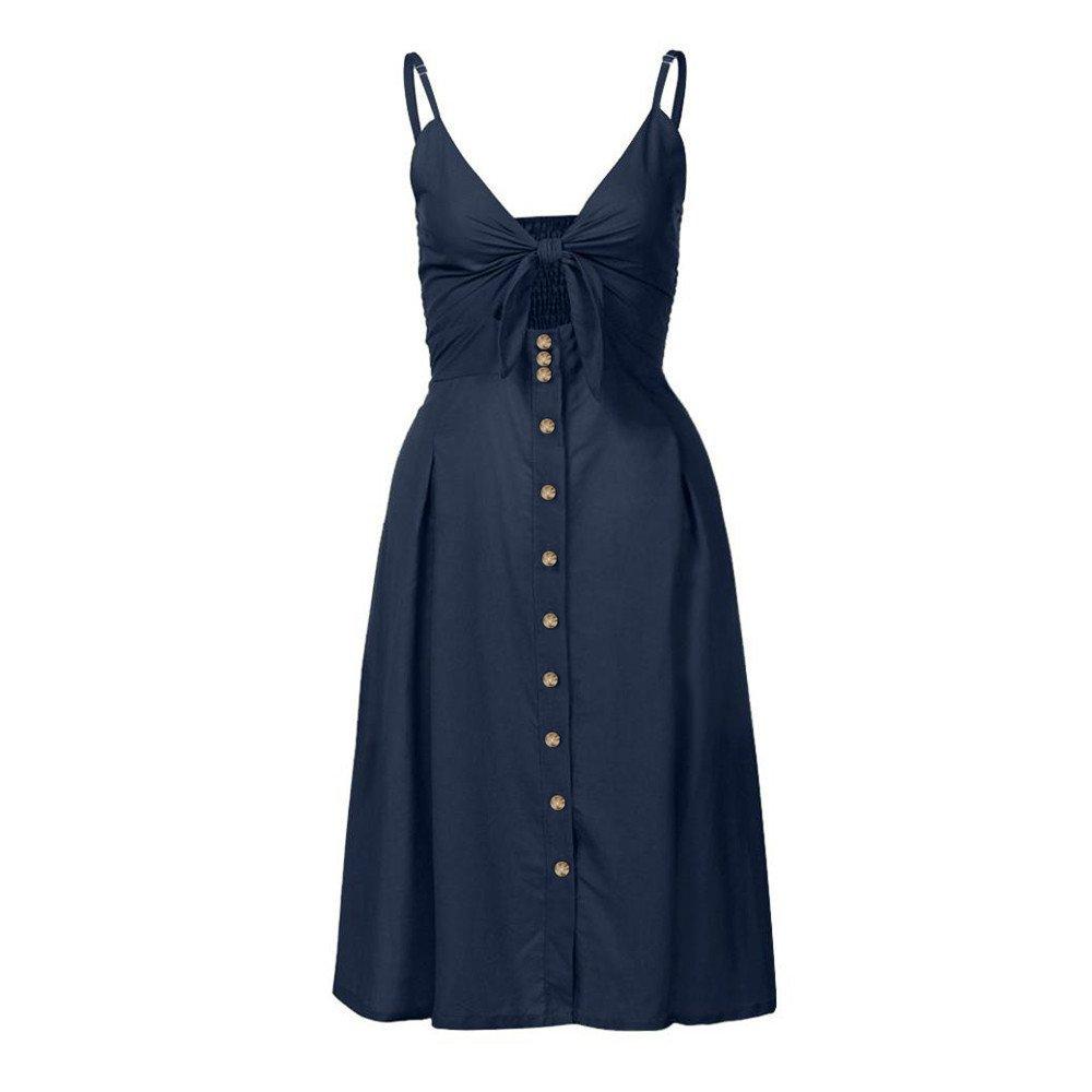 iLUGU Off Shoulder Sleeveless Knee-Length Dress For Women 1/2 Button A-Line Beach Dress
