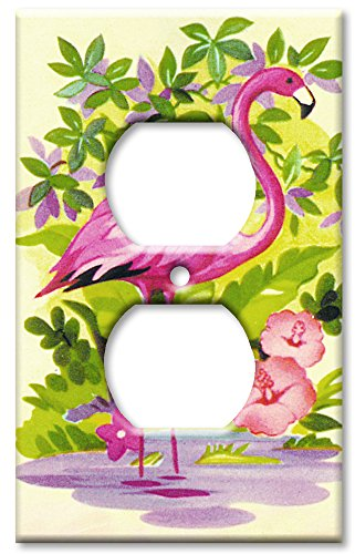 Art Plates - Outlet Cover OVERSIZE Switch Plate/OVER SIZE Wall Plate - Pink Flamingo