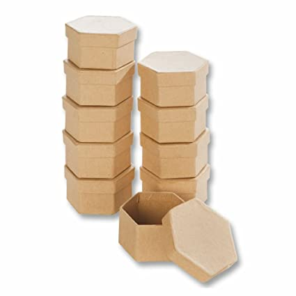 Creleo 790260 de cartón para-de Cajas de hexágono para Manualidades Cajas con Tapa,