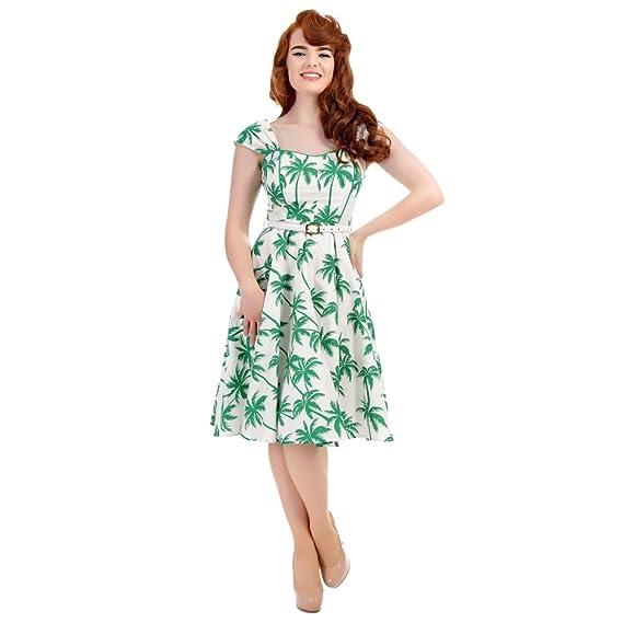 42dc64a810 Collectif Vintage Women s Sandra Car Print Swing Dress White Green ...