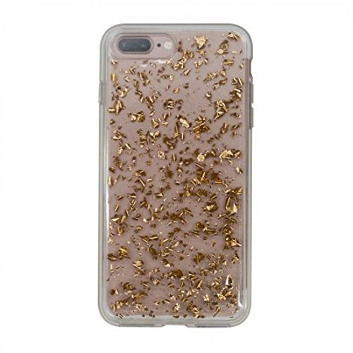 Onn ONB17WI038 Clear Case with Rose Gold Flecks for iPhone 7 Plus/iPhone 8 - Fleck Gold