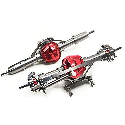 Que-T Aluminum Alloy Front and Rear Axle for RC 1:10 Axial SCX10 Honcho Model Crawler Car, Titanium