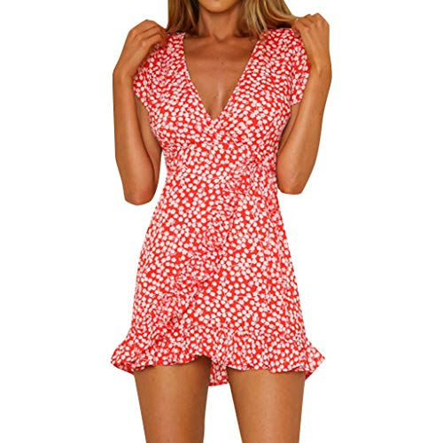 Summer Wrap Ruffle Dresses for Women Casual Deep V Neck Mini Short Dress A Line