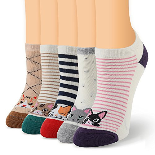 Ambielly Women No Show Socks Cotton Short Ankle Socks 5Pairs (SD8000B) Design Cotton Short