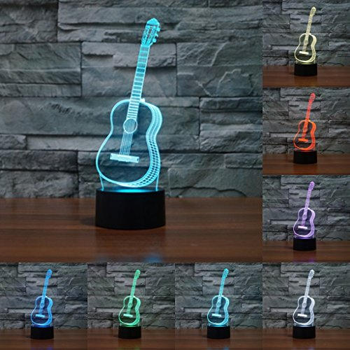 Musical Collection 3D Illusion Night Light, Sensor Touch Lamp Gift for Friends guitar