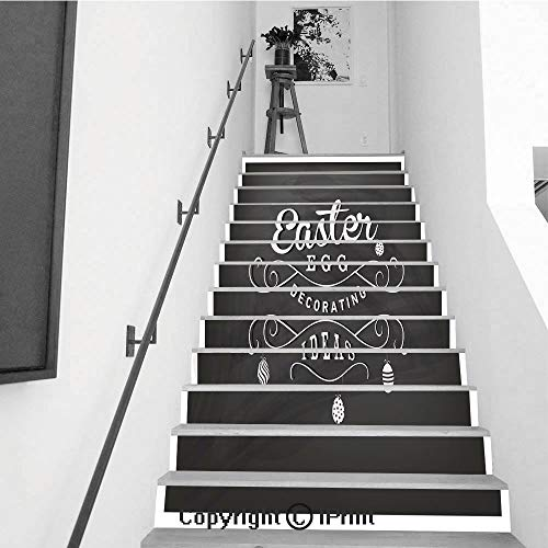 Self-Adhesive Stair Riser Decal - Stair Stickers Decals Wallpaper for Walls Kitchen Bathroom Stair Decals Home Decorations,13 PCS,Easter Egg Decorating Ideas Typographical Text on -