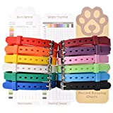 12 Pcs/Set Puppy ID Collars, Adjustable & Environment-friendly Silicone Pet Whelping Identification Collars with Record Keeping Charts