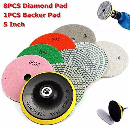 KUNSE 8 Stück 4 Inch 30-3000 Grit Diamant Polier Polster Mit Backer-Pad Für Granit-Stein Beton-Marmor
