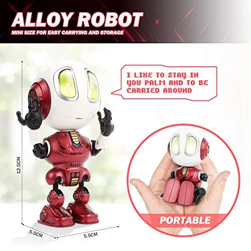 Peradix Mini Robot de Juguete,Robot Juguete Educativo con función de repetición de Voz Mini Robot Interactivo con Efectos Luces y Sonido Electronico Robot Regalo para Niños Toy Robot Juguete Rojo