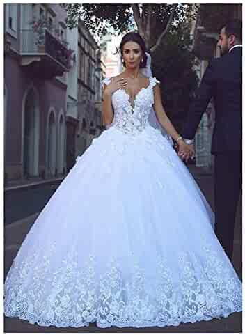 0eb28b210d26 XingMeng Beautiful V Neck Lace Tulle Ball Gown Wedding Dress Lace Up Back Bridal  Gown