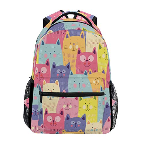 Wamika Cute Cats Backpacks Kitty Kitten Laptop Book Bag Animal Casual Extra Durable Backpack Lightweight Travel Sports Day Pack for Men Women]()