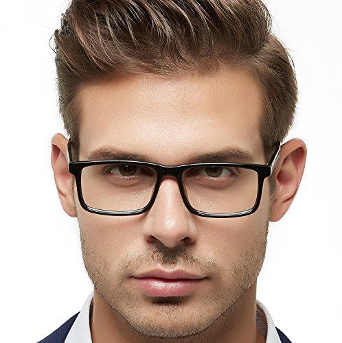OCCI CHIARI Mens Rectangle Fashion Stylish Acetate Eyewear Frame With Clear Lens 51mm (Black-Dark Green)