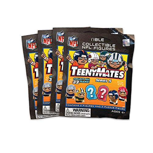 Party Animal NFL TeenyMates Collector Tin, 4 NFL Series 5 Blind Packs Inside
