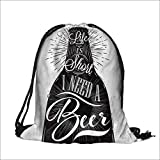 Drawstring Cotton Linen Cloth bottle restaurant in retro vintage style lettering life is short I need abeer in black and white green Craft Gift Storage Pocket Bag  13.5''W x 16''H