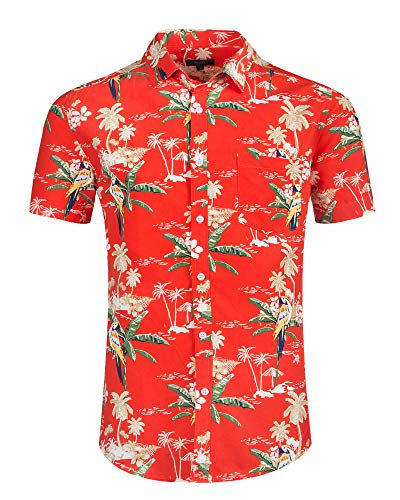 ALTOGUSTO Men's Hawaiian Short Sleeve Printed Shirt Button Down Casual Shirts for Men Palm Tree Printed Beach Hawaiian Aloha T-Shirt-S