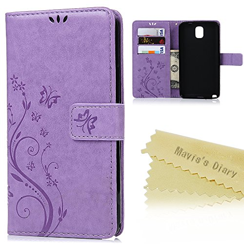 Note 3 Case,Samsung Galaxy Note 3 Case - Mavis's Diary Wallet Embossed Butterflies Flowers Design Folio Flip PU Leather with Stand Magnetic Closure Card Slot Shockproof Soft TPU Inner Cover - Purple