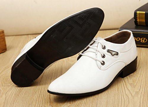 MLFMHR Hommes Daffaires Casual Chaussures Mode Impression D/écoration Verni En Cuir Dentelle Costume Chaussures Blanc-Col Bureau Chaussures De Mariage Chaussures De F/ête