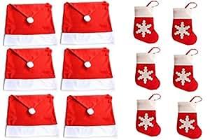 HONGCI paquete 12 de Navidad decoración de la mesa calcetines de Navidad cubiertos bolsillos soporte ( 6 pcs Cubierta de la silla de Navidad Decoración de Navidad + 6 pcs Christmas Socks Pockets)