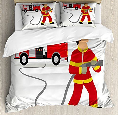 Queen Size Duvet Cover Set, Cartoon Fireman in Uniform with The Hose and Big Vehicle Profession Saving Lives, Decorative 3 Piece Bedding Set with 2 Pillow Shams, Multicolor ()