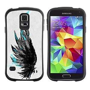 Suave TPU Caso Carcasa de Caucho Funda para Samsung Galaxy S5 SM-G900 / teal black grey raven bird deep art / STRONG