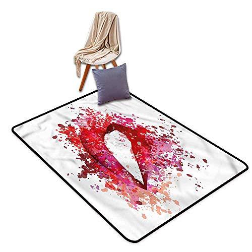 Custom Rug,Modern Sexy Woman Lips,Anti-Slip Doormat Footpad Machine Washable,4'11