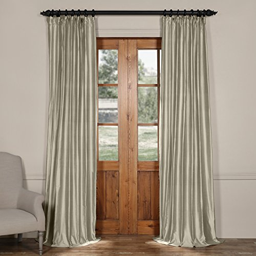 Half Price Drapes CTSK-161006-108 Cotton Silk Curtain, 50 X 108, Liquid Silver