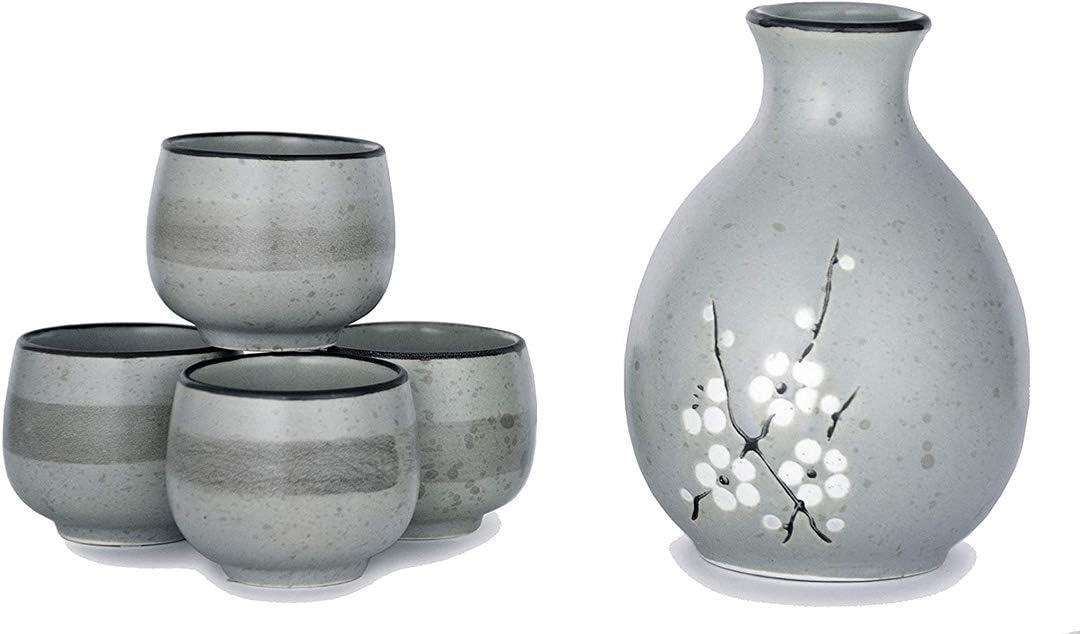 Happy Sales HSSS-CBBLGY, Japanese Style Perfect Glazed Porcelain Sake Set Tokkuri 9.5 fl oz Bottle with Four Sake Ochoko Cups 1.5 fl oz Sake Set, Light Blue Grey Cherry Blossom