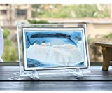Blue Moving Sand Glass Picture Home Office Desk Decor Birthday Xmas Gift w/ Holder by Hwydo