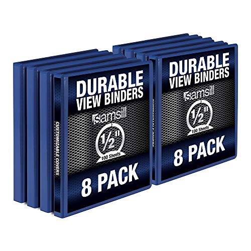 Samsill Durable .5 Inch Binder/Blue Round Ring Binder/Customizable Clear View Binder/Bulk Binder 8 Pack/Blue 3 Ring Binder/Half inch Binder