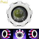 Pivalo Triple Ring Projector Lamp LED Headlight For Royal Enfield Motorcycle Projector Lamp With High Beam Low Beam And Flasher Function Stylish Angel'S Eye Ring Cob LED Lens Projector For All Bikes And Cars - Blue, Red & White