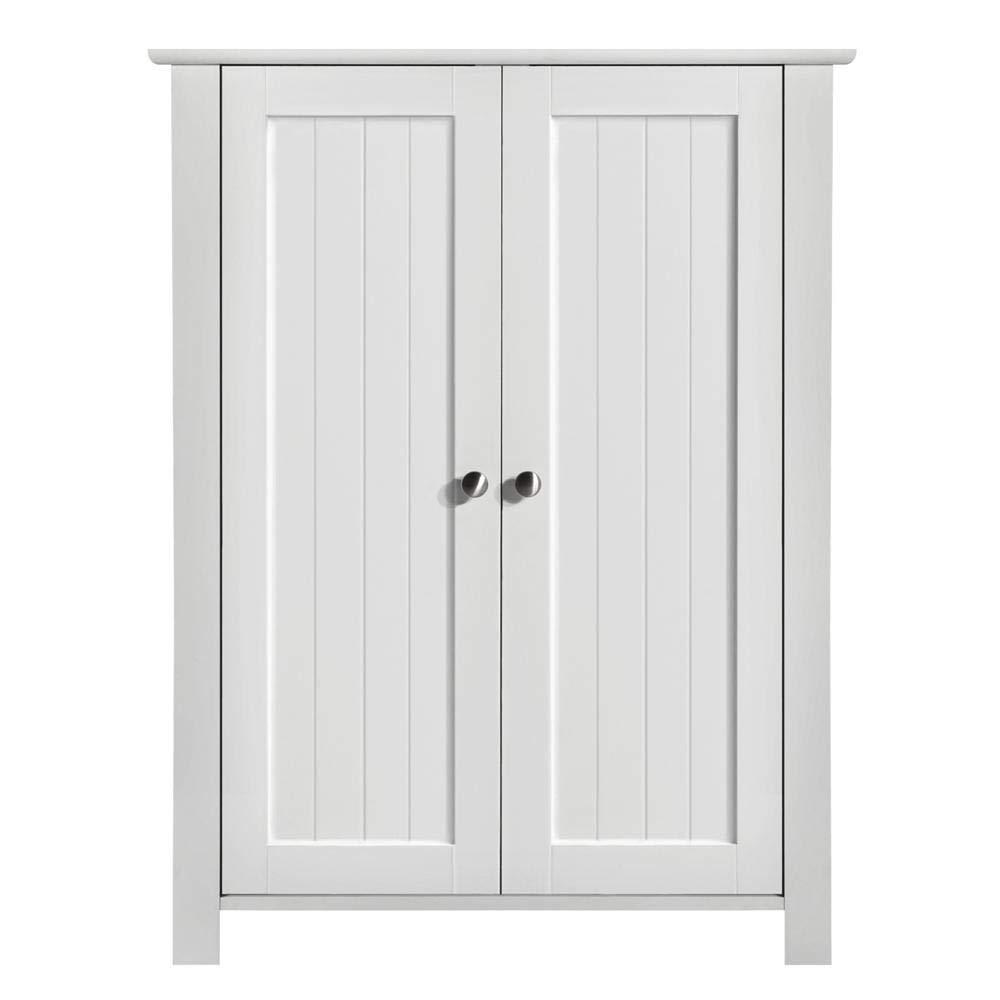 Yaheetech Bathroom Floor Storage Cabinet Space Saver Organizer Double Door Adjustable Shelf 23.6x11.8x31.5'' (LxWxH)