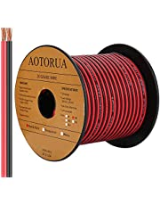 AOTORUA 100FT 20AWG Electrical Wire, 20/2 Gauge Oxygen Free Copper 12V/24V DC Red Black Zip Cord Wire Car Audio Extension Wire, LED Strip Lights Hookup Wire for Led Strips Single Color 3528 5050