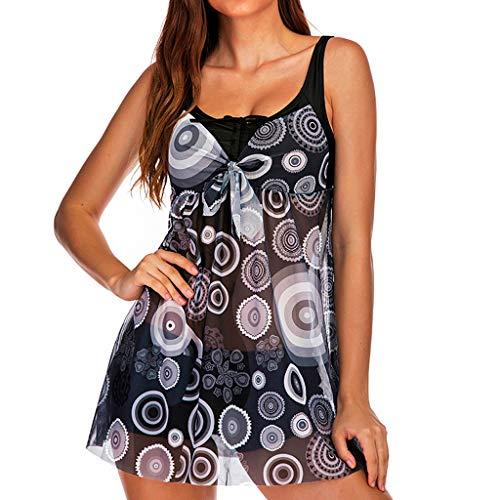 SUNyongsh Women Plus Size Print Tankini Swimjupmsuit Conservative Swimsuit Beachsuit Padded Swimwear Black