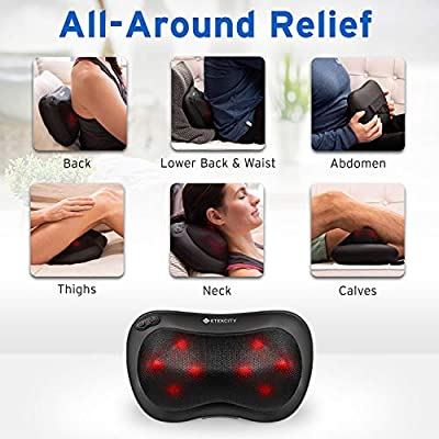 Etekcity Rechargeable Back Neck Massager with Heat Function  Adjustable Intensity Deep Tissue
