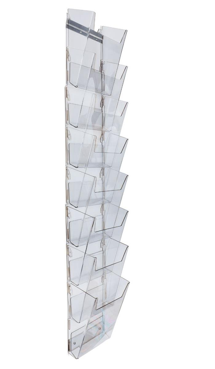 Hanging Literature Rack with 8 Tiered Pockets for 8.5x11 Magazines, Wall Mounting Bracket Included - Clear Plastic