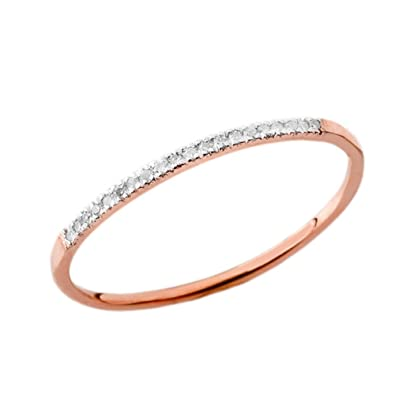 Stackable Wedding Bands.Dainty Modern Diamond Stackable Wedding Band In 10k Rose Gold