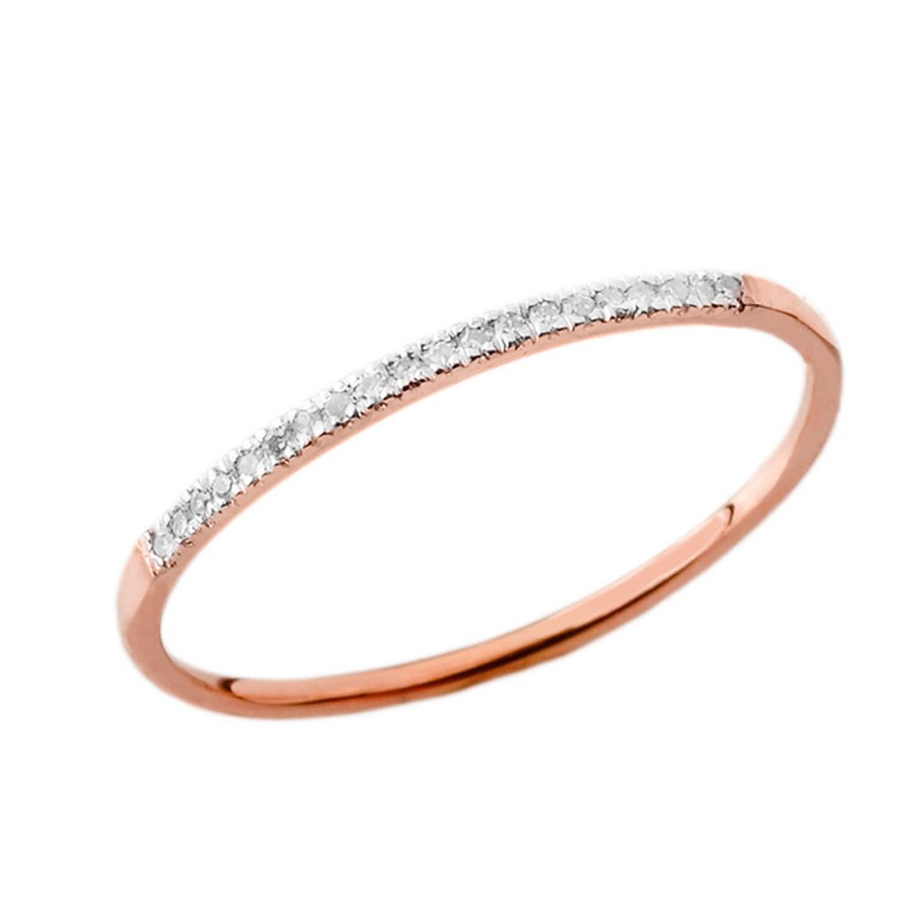 Dainty Modern Diamond Stackable Wedding Band in 10k Rose Gold (Size 5.25)