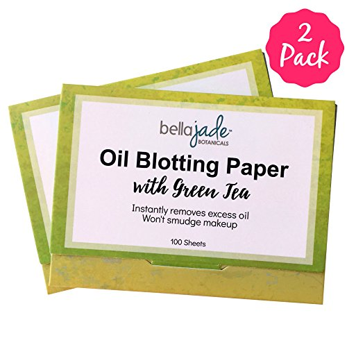 Oil Blotting Paper Sheets - Instantly Absorbs Excess Oil and Shine from Face without Smudging Makeup - Large size, 200 Tissues ... (green tea)