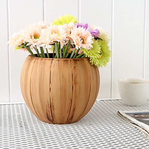 7 inch Round Ceramic Planter Pot with Textured Distressed Wood Style Finish, Brown - Wood Pot