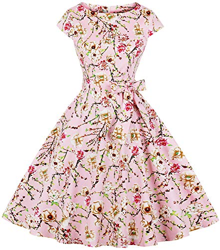 (ANCHOVY Womens Spring Garden Floral Print Rockabilly Swing Prom Cocktail Dress Cap Sleeve C67 (Pink,)