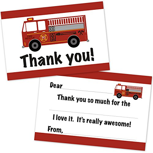 (Fire Engine Truck Birthday Fill in Thank You Cards for Boys (20 Count with Envelopes) - Kids Thank You Notes - Firefighter Party Supplies)