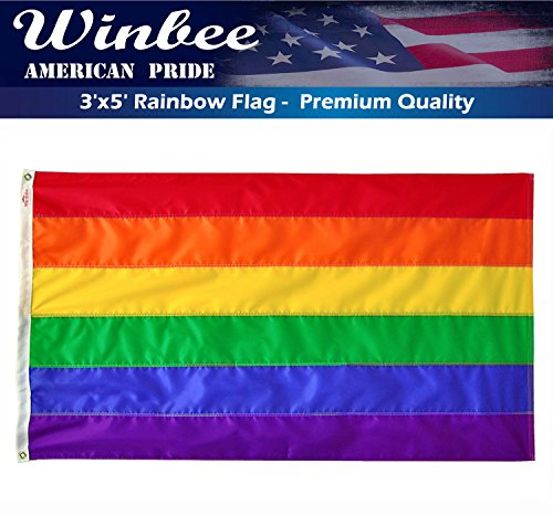 Gay Lesbian Pride Rainbow Flag 3x5 Ft with Sewn Stripes, Long Lasting Nylon and UV Protected. Premium Gay Pride Flags Rainbow for Outdoor - Display with LGBT/Gay Pride Banner Flags