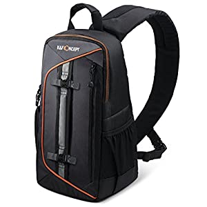 K&F Concept Camera Sling Backpack for Canon Nikon Sony DSLR Camera Bag with Rain Cover