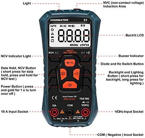 512zPDcGOIL. AC HANMATEK Multimeter Auto-Ranging Digital Multimeter, Electrical Tester with NCV,True RMS 4000 Counts AC/DC Voltmeter Ammeter Ohmmeter, Resistance, Live Line Digital Testers with LCD Backlight    Product Description