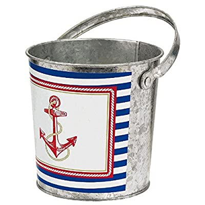Amscan Anchor's Aweigh Nautical Party Galvanized Bucket Serve Ware, Multicolor, 4 3/4""