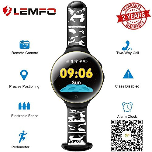 LEMFO Kids Smart Watch 1.33 IPS Round Screen GPS Tracker SOS Call Camera PositioningChildren Smartwatch (Black)