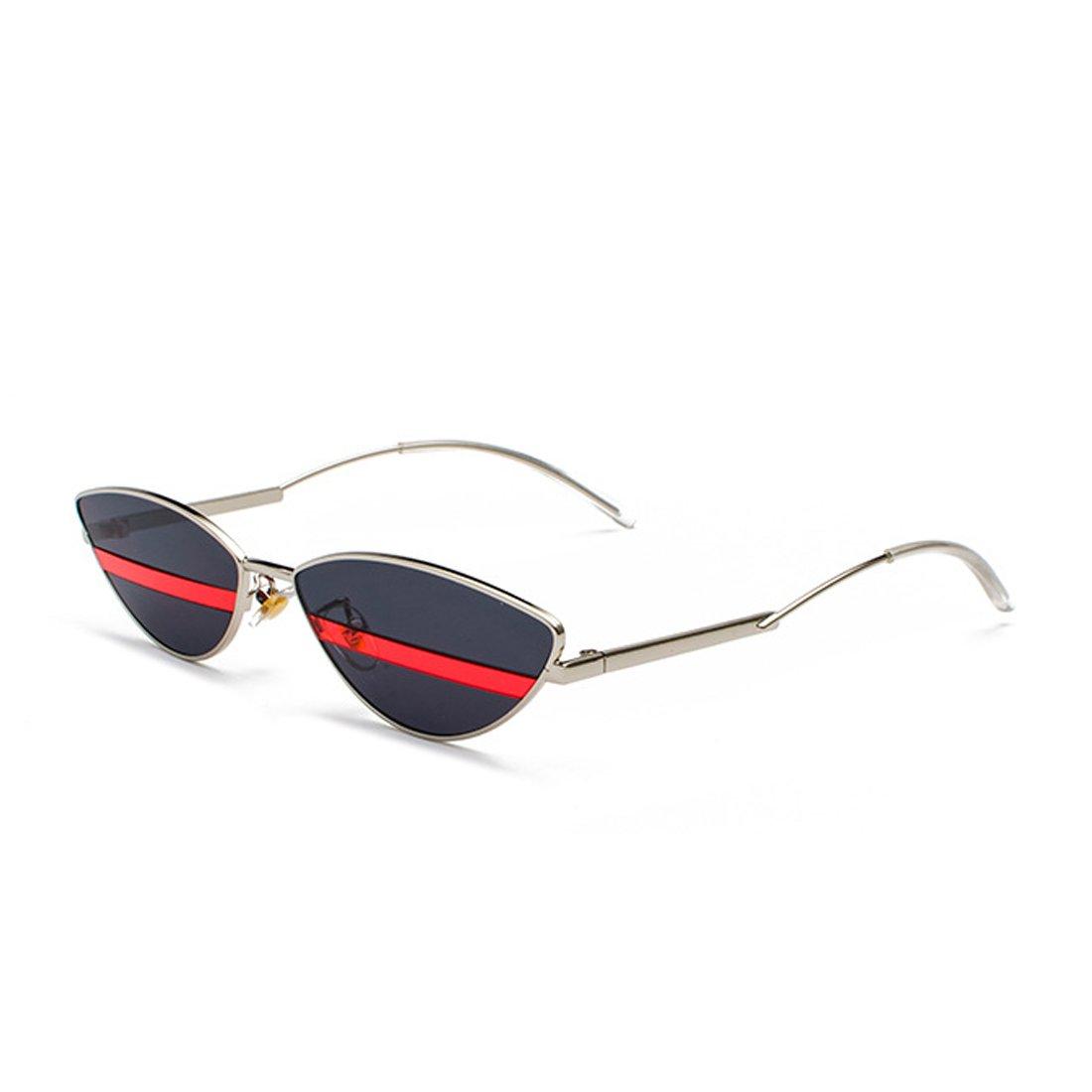 7880a391165f88 Yefree Cat Eye lunettes de soleil hommes femmes des années 90 rétro Vintage  Slim cadre en métal lunettes de soleil  Amazon.fr  Vêtements et accessoires