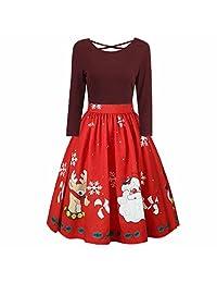 Womens Fashion Long Sleeve Plus Size Christmas Print Criss Cross Party Dress