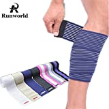 Runworld (1 Pair) Elastic Calf Shin Compression Bandage Brace Thigh Leg Wraps Support for Sports, Weightlifting, Fitness, Running - Knee Straps for Squats Men Women (Blue)
