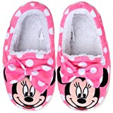 Joah Store Slippers for Girls Disney Minnie Mouse Warm Fur Indoor Pink Shoes (9.5 M US Toddler, Minnie Mouse)